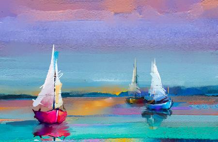 Buntes Ölgemälde auf Leinwandbeschaffenheit. Impressionismusbild von Seestückmalereien mit Sonnenlichthintergrund. Ölgemälde der modernen Kunst mit Boot, Segel auf See. Abstrakte zeitgenössische Kunst für Hintergrund