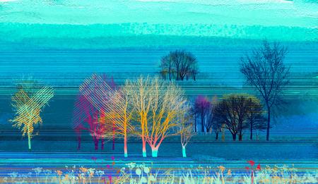 Abstraktes buntes Ölgemälde auf Leinwandbeschaffenheit. Halb abstraktes Bild des Hintergrunds der Landschaftsmalerei. Ölgemälde der modernen Kunst mit Grün, Rot und Blau. Abstrakte zeitgenössische Kunst für Hintergrund.
