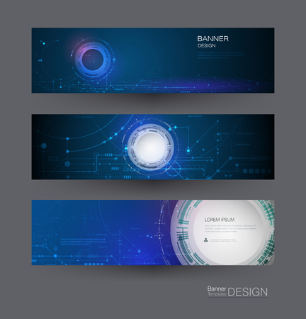 Vector banner design circuit board. Illustration Abstract modern futuristic, engineering, technology background. Futuristic digital science technology concept for web banner template or brochure