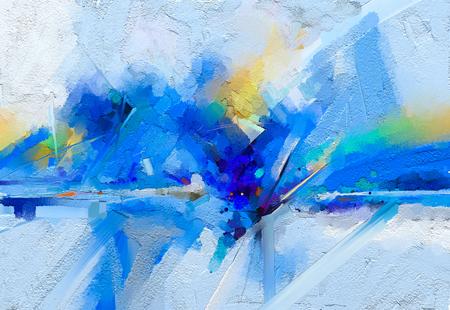 Huile colorée abstraite, peinture acrylique sur la texture de la toile.