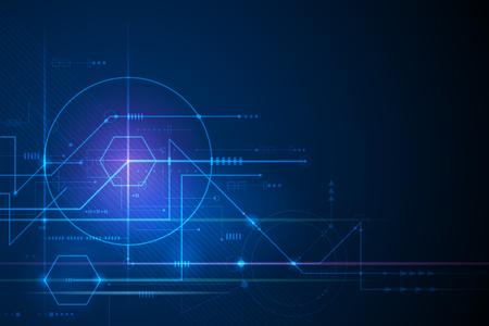 Ilustración de fondo abstracto, placa de circuito o placa base. Diseño vectorial para tecnología abstracta, comunicación, futurista. Concepto digital de alta tecnología sobre fondo azul oscuro