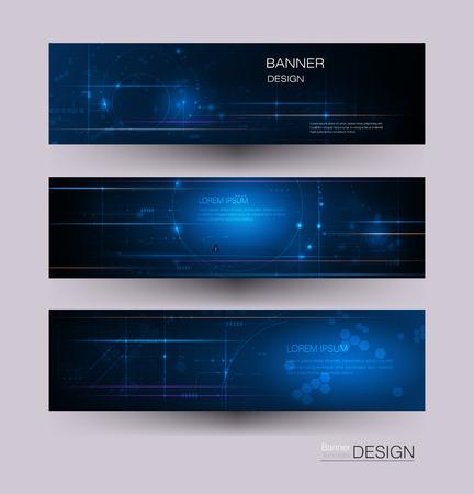 Placa de circuito de diseño de banner de vector con círculo. Vectores Resumen moderno futurista, ingeniería, ciencia, tecnología de fondo. Conexión digital de alta tecnología, comunicación, concepto de alta tecnología
