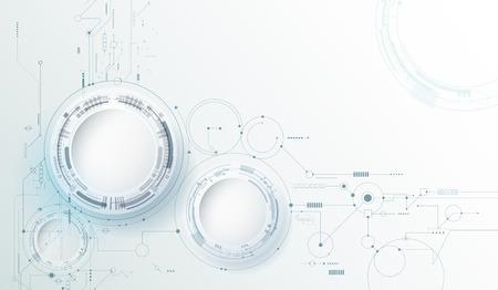 Disegno vettoriale cerchio di carta 3d con circuito stampato. Illustrazione Astratto moderno futuristico, ingegneria, scienza, tecnologia di fondo. Connessione digitale ad alta tecnologia, comunicazione, concetto di alta tecnologia