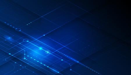 Vektor-Motherboard oder Platine auf blauem Hintergrund. Illustrationscomputerhardware, Systemdesign der integrierten Schaltung. Abstraktes futuristisches Hightech-, Digitaltechnik-, Wissenschaftstechnologiekonzept Vektorgrafik
