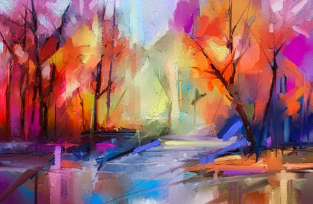 Dipinto ad olio alberi autunnali colorati. Immagine semi astratta di foresta, paesaggi con foglia gialla - rossa e lago.