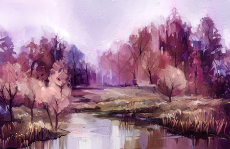 Dipinto ad olio alberi autunnali colorati.
