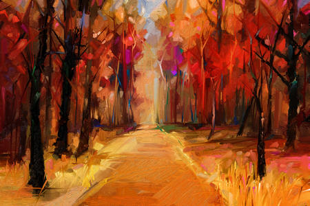 Oil painting colorful autumn trees. Semi abstract image of forest, aspen trees with yellow - red leaf and lake.