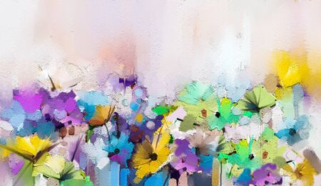 Abstract colorful oil, acrylic painting of spring flower. Hand painted brush stroke on canvas. Illustration oil painting floral for background. Modern art paintings flowers with yellow, red color 免版税图像