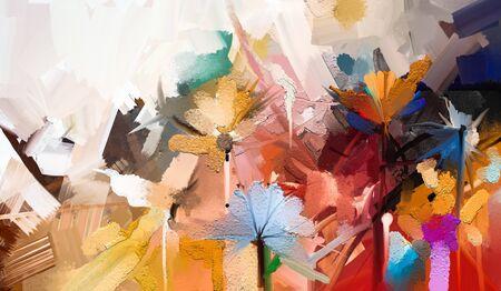Huile colorée abstraite, peinture acrylique de fleur de printemps. Banque d'images