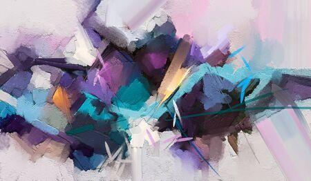 Abstract kleurrijk olieverfschilderij op canvastextuur. Handgetekende penseelstreek, olieverfschilderijen
