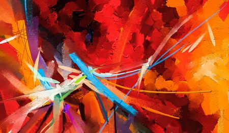 Abstract colorful oil painting on canvas texture. Hand drawn brush stroke, oil color paintings