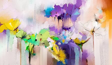 Abstract colorful oil, acrylic painting of spring flower. Hand painted brush stroke on canvas.