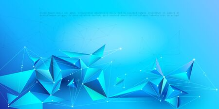 Abstract Molecules with line, node, geometric, low poly, polygon and triangle. Vector design network connection technology on blue color background. Futuristic, science,  network technology concept