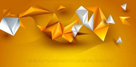 Abstract 3D Geometric, Polygon, Triangle pattern shape.  Yellow, orange gradient color background. Vector illustration polygonal technology background for banner, template, wallpaper, web design