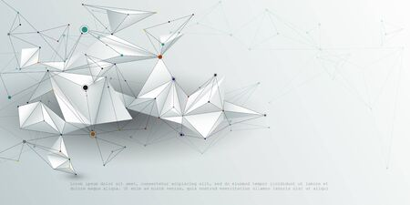 Abstract Molecules with line, node, geometric, low poly, polygon and triangle. Vector design network connection technology on bright gray background. Futuristic, science, network technology concept
