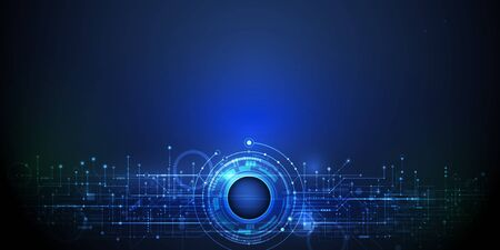 Vector Abstract futuristic eyeball on circuit board, Illustration high computer and Communication technology on blue color background. Hi-tech digital technology, global social media concept