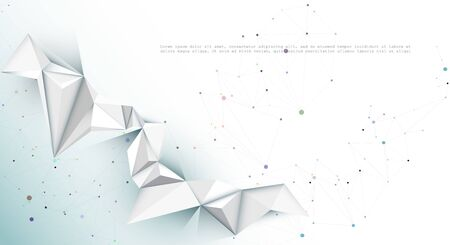 Illustration Abstract Molecules with Lines, Geometric, Polygon, Triangle pattern. Vector design network communication technology on white gray color background. Futuristic - digital science technology concept