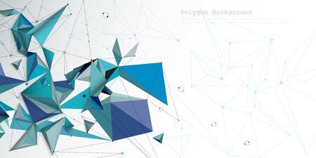 Abstract molecule structure with color, line, geometric pattern, polygon shape. Vector illustration design futuristic gradient color background. Modern digital science technology concept for banner Ilustração
