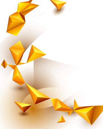 Abstract 3D Geometric, Polygon, Yellow-orange gradient color triangle pattern shape on white color background. Vector illustration polygonal technology background for banner, template, web design