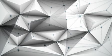 Abstract Molecules with line, node, geometric, low poly, polygon and triangle. Ilustração