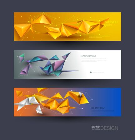 Abstract Molecules banners set with Lines,Geometric,Polygon. Vector design network communication background. Futuristic digital science technology concept for web banner template or brochure