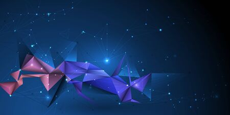 Vector 3D Illustration Geometric, Polygon, Line,Triangle pattern shape with molecule structure. Polygonal with blue purple, yellow background. Abstract science, futuristic, network connection concept Ilustração