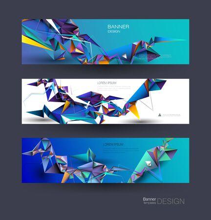 Vector polygon banner set. Polygonal or low poly pattern background. Illustration abstract layout, label design. Futuristic digital technology concept for business, web, template or brochure Ilustração