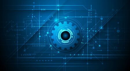 Vector illustration design, digital eyeball and line on circuit board. High tech computer, science technology. Abstract futuristic communication concept. Dark blue color background Ilustração
