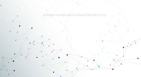 Illustration Abstract Molecules with Lines, Geometric, Polygon, Triangle pattern. Vector design network communication technology on white gray color background. Futuristic- digital science technology concept