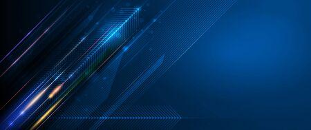 Vektor-Zusammenfassung, Wissenschaft, futuristisch, Energietechnologiekonzept. Digitales Bild von Lichtstrahlen, Streifenlinien mit blauem Licht, Geschwindigkeit und Bewegungsunschärfe über dunkelblauem Hintergrund