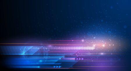 Ilustración de rayo de luz, línea de rayas con luz azul, fondo de movimiento de velocidad. Vector de diseño abstracto, ciencia, futurista, energía, concepto de tecnología digital moderna para papel tapiz, fondo de banner