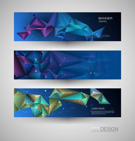Abstract Molecules banners set with Circles,Lines,Geometric,Polygon. Vector design network communication background. Futuristic digital science technology concept for web banner template or brochure Ilustração