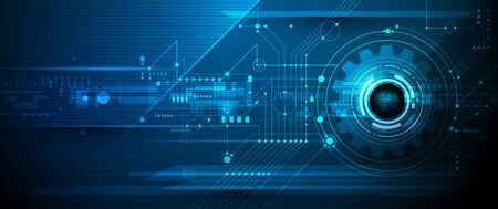 Vector illustration design, digital eyeball and line on circuit board. High tech computer, science technology. Abstract futuristic communication concept. Dark blue color background Ilustración de vector
