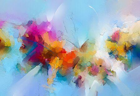 Peinture à l'huile colorée abstraite sur la texture de la toile. Coup de pinceau dessiné à la main, arrière-plan de peintures à l'huile. Peintures à l'huile d'art moderne de couleur jaune et rouge. Art contemporain abstrait pour le fond.
