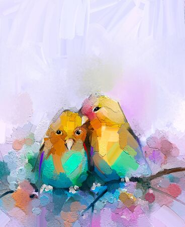 Abstract colorful oil, acrylic painting of bird and spring flower. Modern art paintings brush stroke on canvas. Illustration oil painting, animal and floral for background Imagens