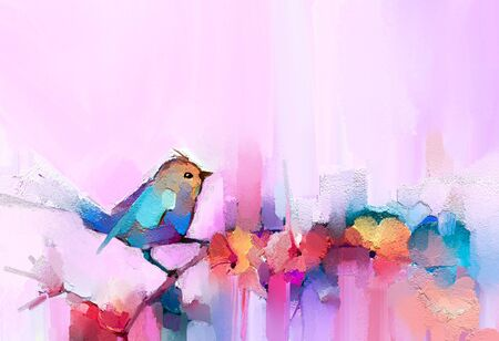 Abstract colorful oil, acrylic painting of bird and spring flower. Modern art paintings brush stroke on canvas. Illustration oil painting, animal and floral for background
