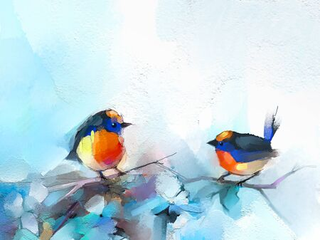 Abstract colorful oil, acrylic painting of bird and spring flower. Modern art paintings brush stroke on canvas. Illustration oil painting, animal and floral for background. Standard-Bild