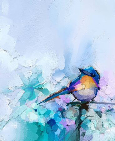Abstract colorful oil, acrylic painting of bird and spring flower. 免版税图像