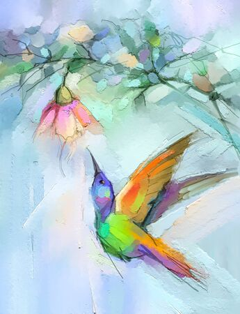 Abstract colorful oil, acrylic painting of bird (Hummingbird) and spring flower. 免版税图像
