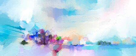 Abstract oil painting landscape. Oil painting outdoor on canvas.