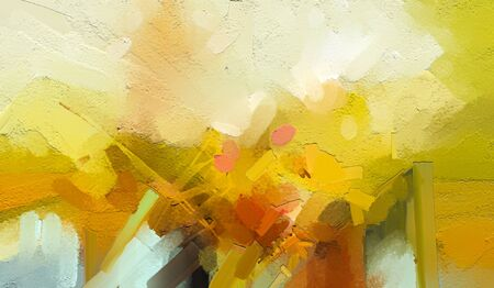 Abstract colorful oil painting on canvas texture. Hand drawn brush stroke, oil color paintings background. Modern art oil paintings with yellow, red color. Abstract contemporary art for background 免版税图像
