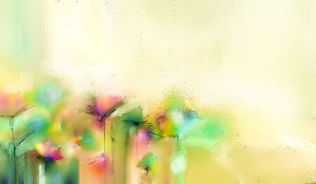 Abstract colorful oil, acrylic painting of spring flower.