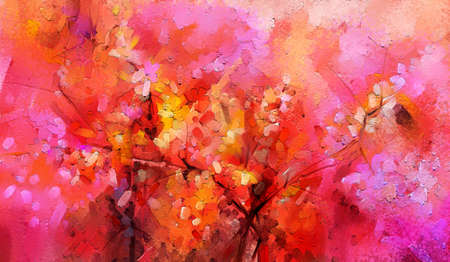 Abstract colorful oil painting on canvas texture. Semi- abstract paint of landscape, tree, and flower. Modern art oil paintings nature with yellow, red color. Abstract contemporary art for background 免版税图像