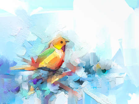Abstract colorful oil, acrylic painting of bird and spring flower. Modern art paintings brush stroke on canvas. Illustration oil painting, animal and floral for background. 免版税图像