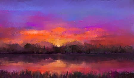 Oil painting colorful autumn season. Semi abstract image of sunset at forest, trees with yellow - red leaf and lake with oil paint. Fall season nature background. Impressionist, outdoor landscape. 免版税图像