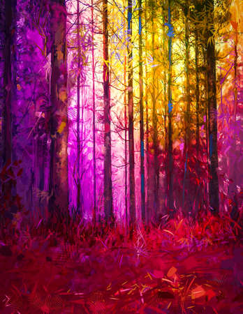 Illustration colorful autumn forest. Abstract image of fall season, yellow and red leaf on tree, outdoor landscape. Nature painting with oil paint. Modern art for wallpaper background