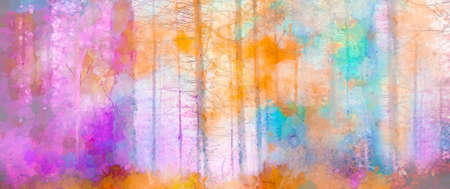 Illustration soft colorful autumn forest. Abstract fall season, yellow and red leaf on tree, outdoor landscape. Nature painting pastel design with watercolor paint. Modern art for wallpaper background