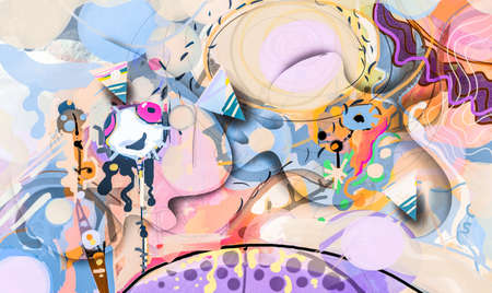 Illustration colorful, Cartoon picture of children painting style, design with oil paint and drawing. Creative Image of nature. Fantasy or surreal concept. Abstract art for background 免版税图像