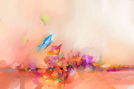Abstract colorful oil, acrylic painting of butterfly flying over spring flower. Illustration hand paint floral blossom in summer or spring season, nature image for wallpaper or background. 免版税图像