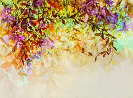 Abstract oil painting of colorful flower with orange, red, yellow leaf. Illustration hand painted, nature of fall, autumn season. Paint design for natural wallpaper. Vintage floral color background 免版税图像